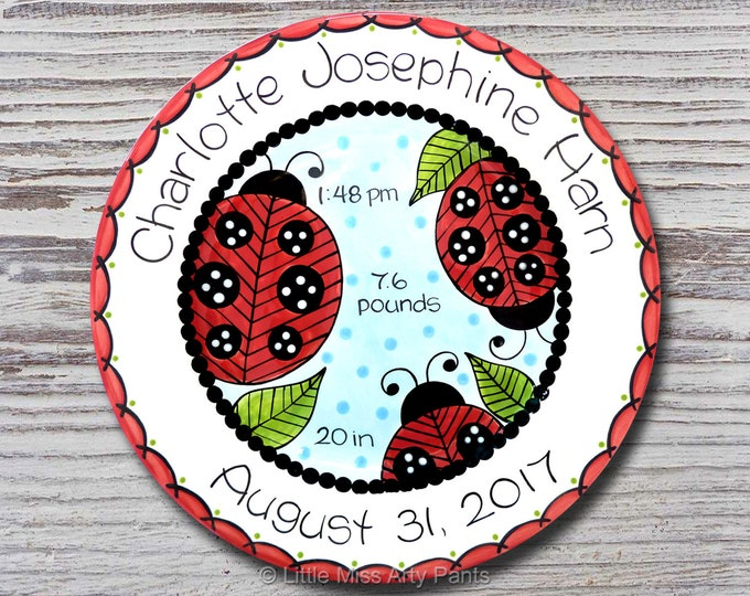 Personalized Birth Plates - Personalized Ceramic Baby Plate - Personalized Baby Plate - Baby Shower Plates - Lady Bug Design - New Baby