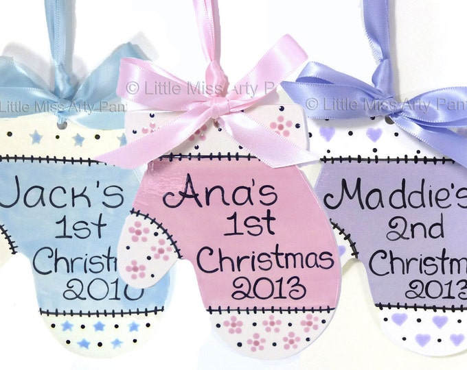 Personalized Ceramic Christmas Ornament - Ceramic Christmas Ornaments - Baby Mitten 1st Christmas - hand painted christmas ornament