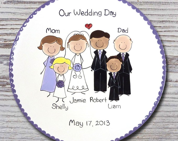 Personalized Wedding Portrait Plate - Custom Wedding Plate - Personalized Wedding People Plate - Personalized Wedding Party Plates
