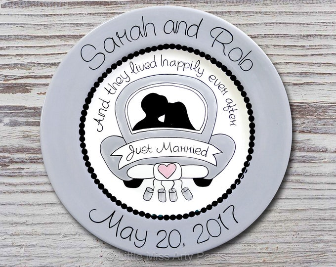 """Personalized Wedding Plates - Anniversary Plate - Hand Painted Ceramic Wedding Plate - Personalized Wedding Plate - 11"""" Just Married Design"""
