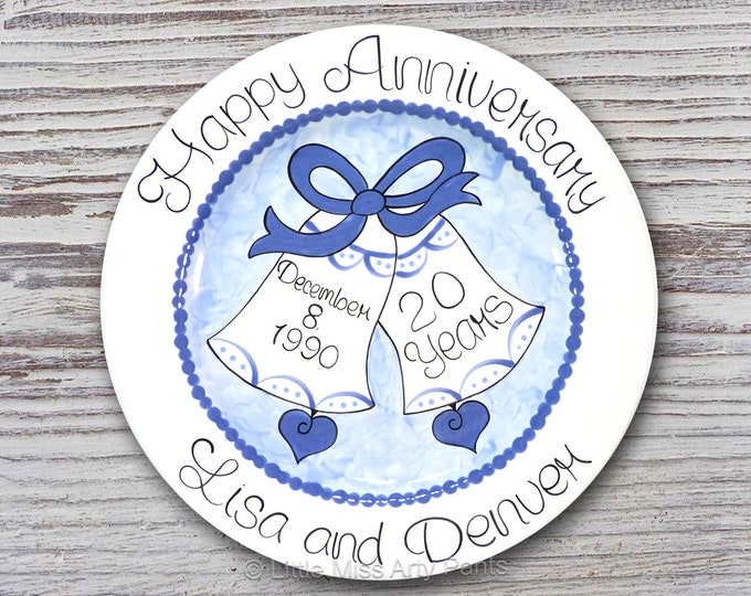Personalized Anniversary Plates - Ceramic Anniversary Plates - Hand Painted Ceramic Wedding Plate - Love Bells Hand Painted Plate