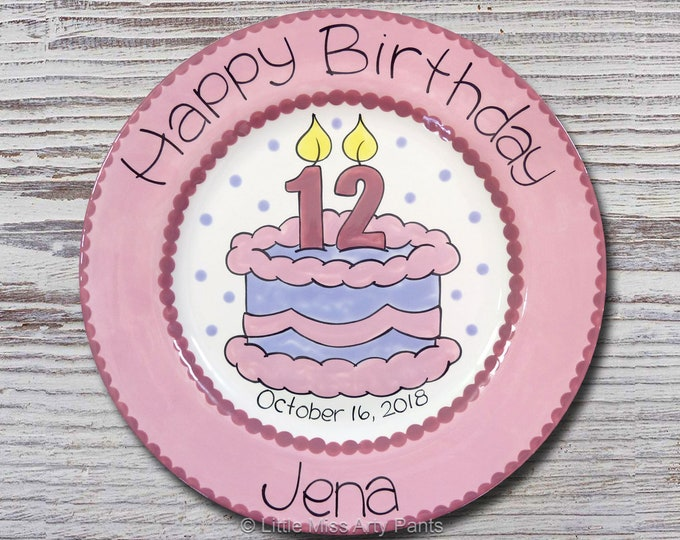 Personalized Birthday Plates - Happy Birthday Plate - 1st Birthday Plate - Hand painted Ceramic Birthday Plate - Birthday Cake Number Candle