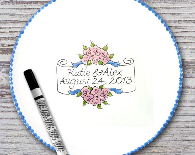 Personalized Wedding Signature Plate - Guest Book Plate - Wedding Gift- Personalized Wedding Plate - Signature Platter -Flower Scroll Design