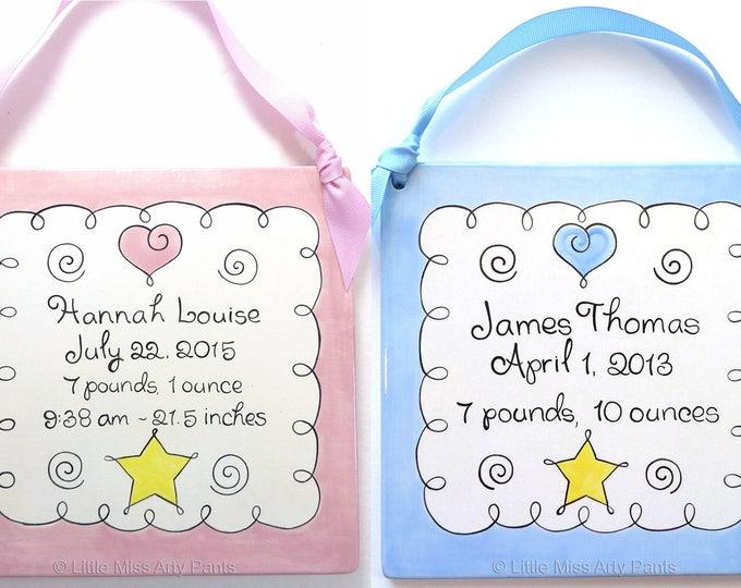 "Personalized Birth Plates- Personalized Ceramic Baby Plate-Personalized Baby Plates-New Baby- Sweet Baby Plaque 8"" Birth Announcement Plaque"