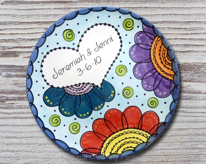 Personalized Wedding Plates - Ceramic Wedding Plates - Hand Painted Ceramic Wedding Plate - Flower Mandala Wedding Plate