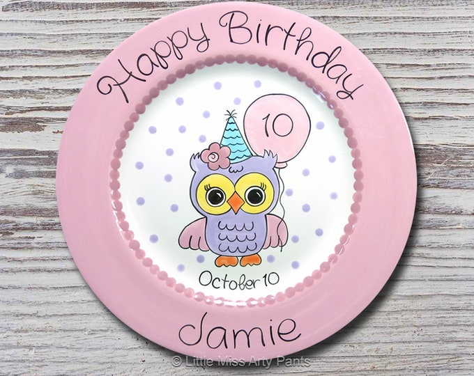 Personalized Birthday Plates - Happy Birthday Plate - 1st Birthday Plate - Hand painted Ceramic Birthday Plate - Birthday Owl Plate Design