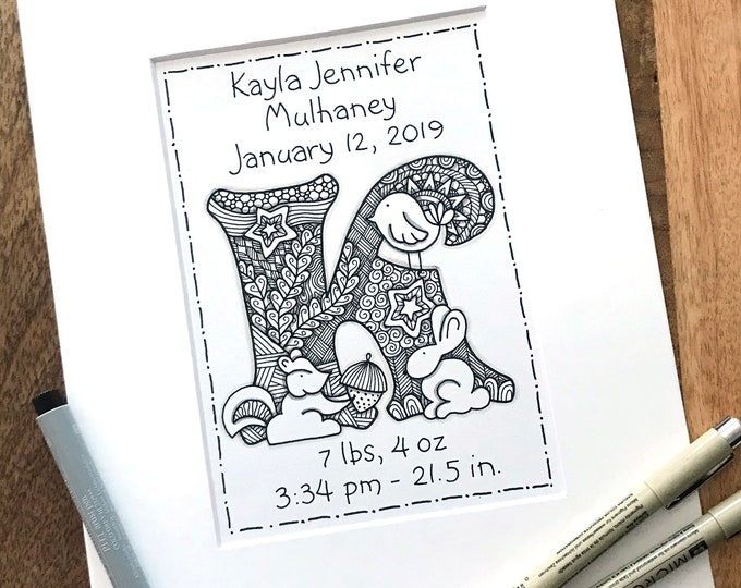 Personalized Monogram Baby Art - Zentangle Baby Announcement  - Hand Drawn Birth Monogram Zentangle Art