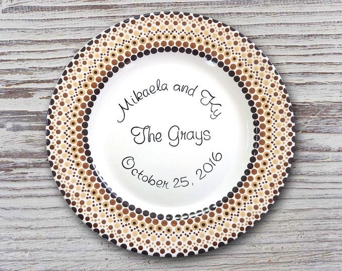 Personalized Wedding Plates - Anniversary Plate - Hand Painted Ceramic Wedding Plate - Personalized Wedding Plate - Mandala Wedding Plate