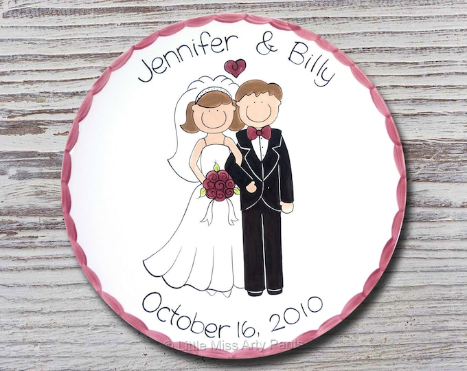 "Personalized Wedding Plates - Anniversary Plate - Hand Painted Ceramic Wedding Plate - Personalized Wedding Plate - 11"" Happy Couple Design"