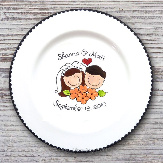 Personalized Wedding Signature Plate - Guest Book Plate - Wedding Gift- Personalized Wedding Plate - Signature Platter -Bride & Groom Design