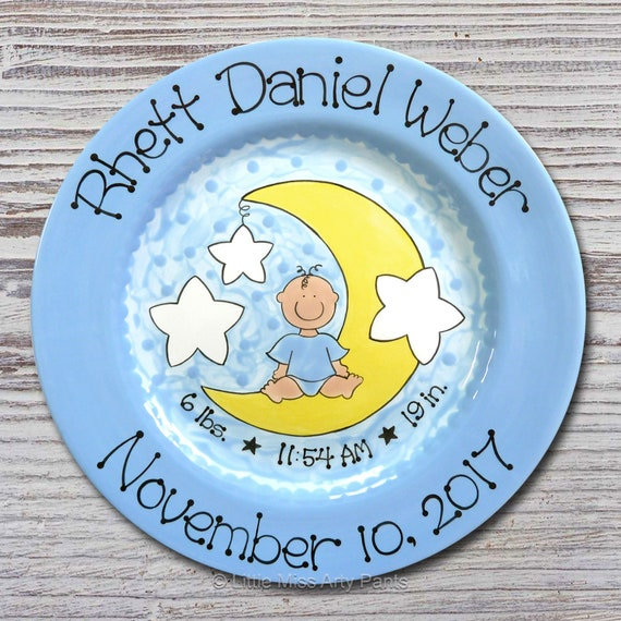 Personalized Birth Plates - Personalized Ceramic Baby Plate - Personalized Baby Plates - Baby Shower Plates - Moon Baby Design - New Baby