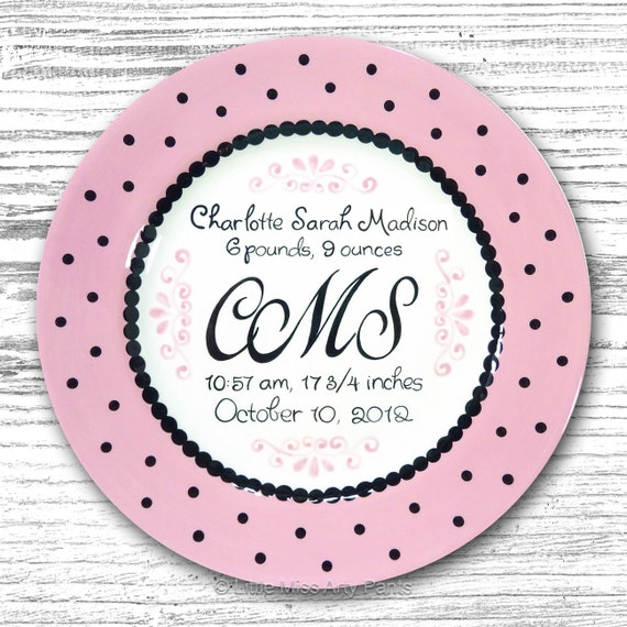 Personalized Birth Plates - Personalized Ceramic Baby Plate - Personalized Baby Plates - Baby Shower Plates - Baby Monogram Design