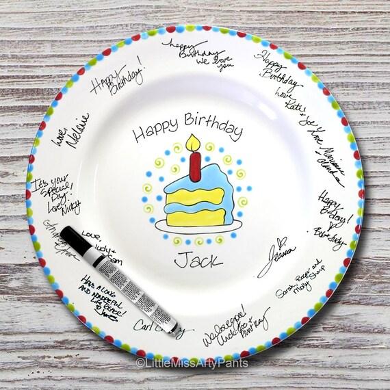 Hand Painted Signature Birthday Plate - Piece of Cake - Happy Birthday Plate - 1st Birthday - Birthday Cake - Birthday Gift
