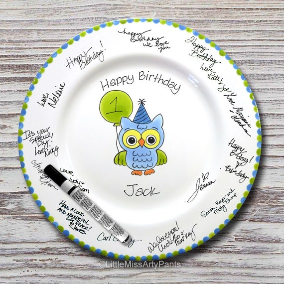 Hand Painted Signature Birthday Plate - Owl Design - Blue - Happy Birthday Plate - 1st Birthday - Birthday Gift