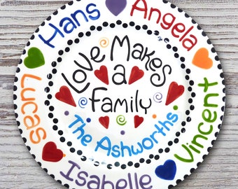 11 inch Personalized Family Plate - Love Makes a Family Design
