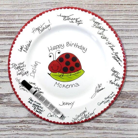 Hand Painted Signature Birthday Plate - Smiling Ladybug - Happy Birthday Plate - 1st Birthday - Lady bug - Birthday Gift
