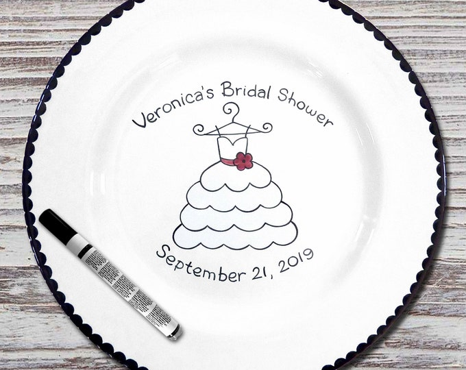 Personalized Bridal Shower Signature Plate -Wedding Gift- Personalized Wedding Plate - Bridal Shower Signature Platter -Wedding Dress Design