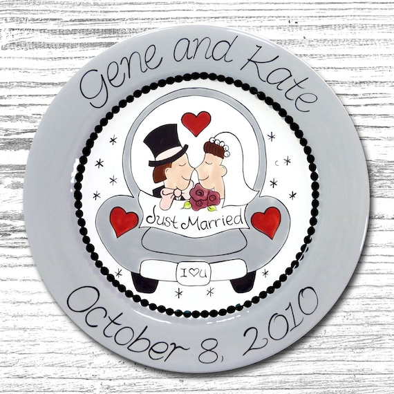 Personalized Wedding Plates - Anniversary Plate - Hand Painted Ceramic Wedding Plate - Personalized Wedding Plate - Love Car Wedding Plate
