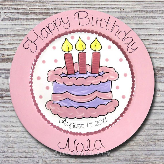Personalized Birthday Plates - Happy Birthday Plate - 1st Birthday Plate - Hand painted Ceramic Birthday Plate - Birthday Cake Design