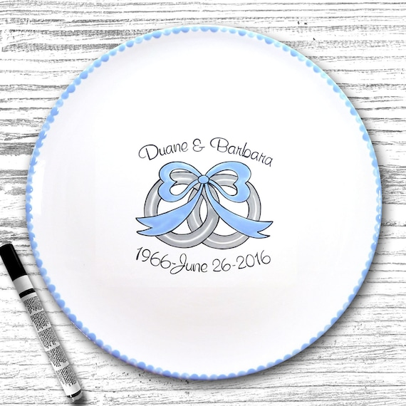 Personalized Wedding Signature Plate - Guest Book Plate - Wedding Gift- Personalized Wedding Plate - Signature Platter - Wedding Ring Design