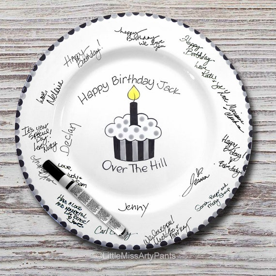 Hand Painted Signature Birthday Plate - Over The Hill Cupcake - Happy Birthday Plate - 1st Birthday - Birthday Cupcake