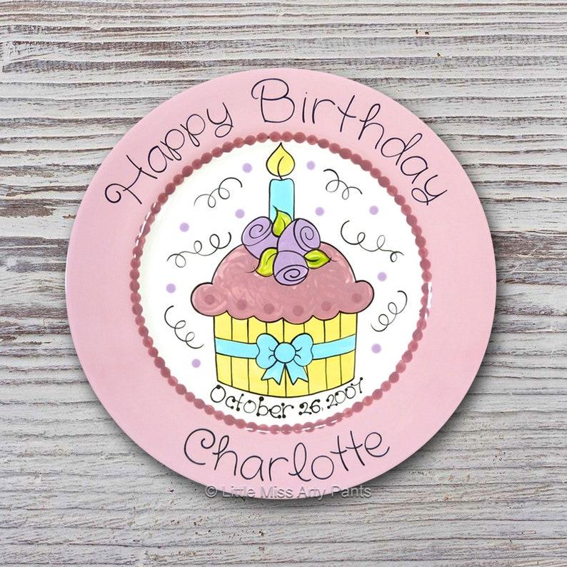 Hand painted Ceramic Birthday Plate Pretty Cupcake Design Happy Birthday Plate 1st Birthday Plate Personalized Birthday Plates