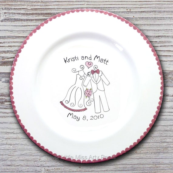 Personalized Wedding Signature Plate - Guest Book Plate- Wedding Gift- Personalized Wedding Plate - Signature Platter -Wedding Attire Design