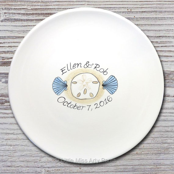 Personalized Wedding Signature Plate - Guest Book Plate - Wedding Gift- Personalized Wedding Plate - Signature Platter - Shells Sand Dollar