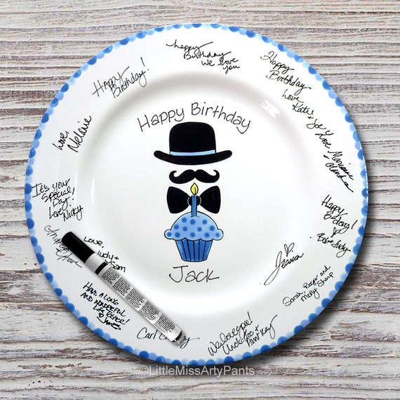 Hand Painted Signature Birthday Plate - Hat, Mustache, Bowtie - Happy Birthday Plate - 1st Birthday - Birthday Cupcake