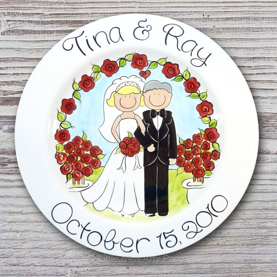 Personalized Wedding Plates - Hand Painted Ceramic Wedding Plate - Personalized Wedding Plate - Happy Couple Rose Garden Design