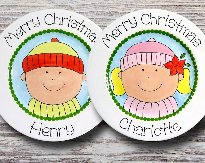 Personalized Christmas Plate - Cookies for Santa Plate - Personalized Christmas Plates for Boys and Girls - Kids Christmas Plate