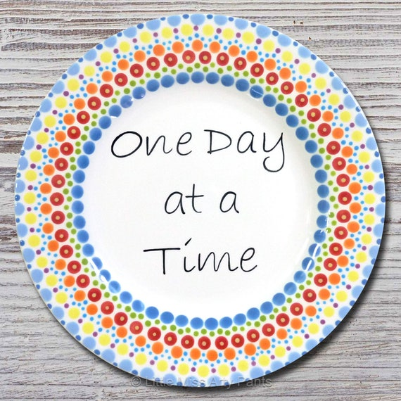 "One Day at a Time - AA/Al-Anon Recovery Mandala Plate - 8.75"" plate"