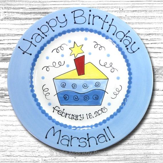 Personalized Birthday Plates - Happy Birthday Plate - 1st Birthday Plate - Hand painted Ceramic Birthday Plate - Funky Birthday Cake Design