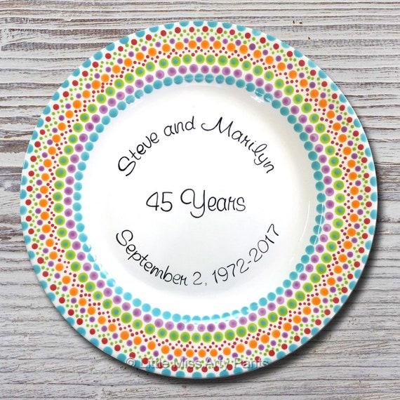 Personalized Wedding Plates - Anniversary Plate - Hand Painted Ceramic Anniversary Plate - Personalized Anniversary Plate - Mandala Design