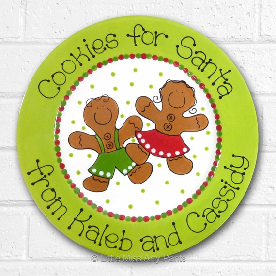 Personalized Christmas Plate - Cookies for Santa - Personalized Christmas Plates - Gingerbread Cookies - Gingerbread Boy - Gingerbread Girl