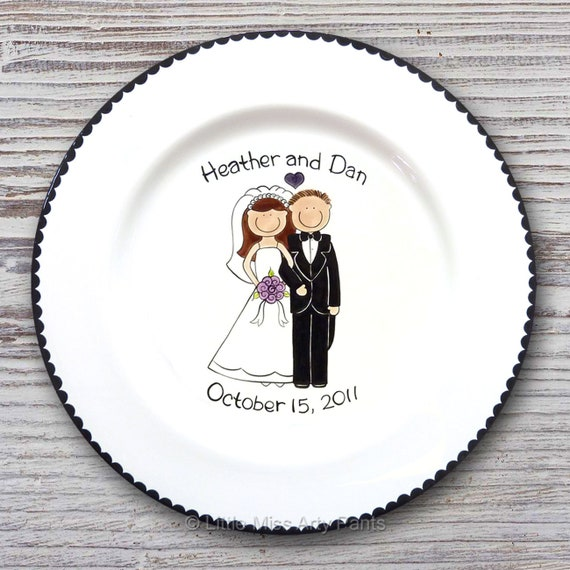 Personalized Wedding Signature Plate - Guest Book Plate - Wedding Gift- Personalized Wedding Plate - Signature Platter - Happy Couple Design
