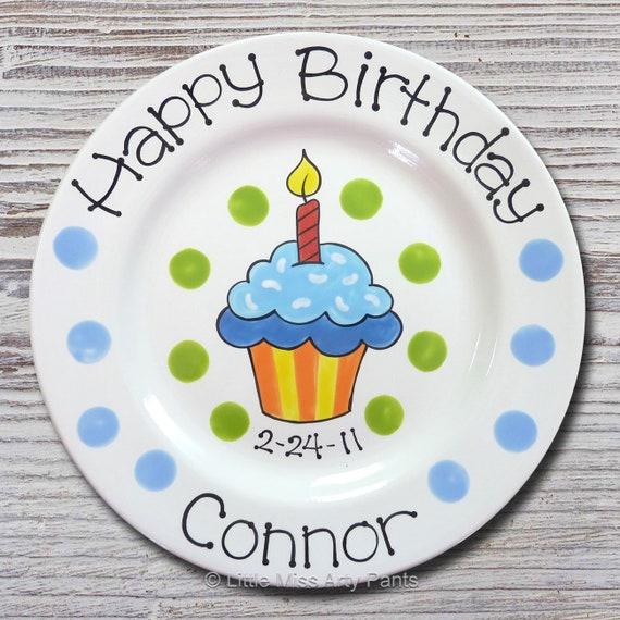 Personalized Birthday Plates - Happy Birthday Plate - 1st Birthday Plate - Hand painted Ceramic Birthday Plate - Birthday Cupcake Design