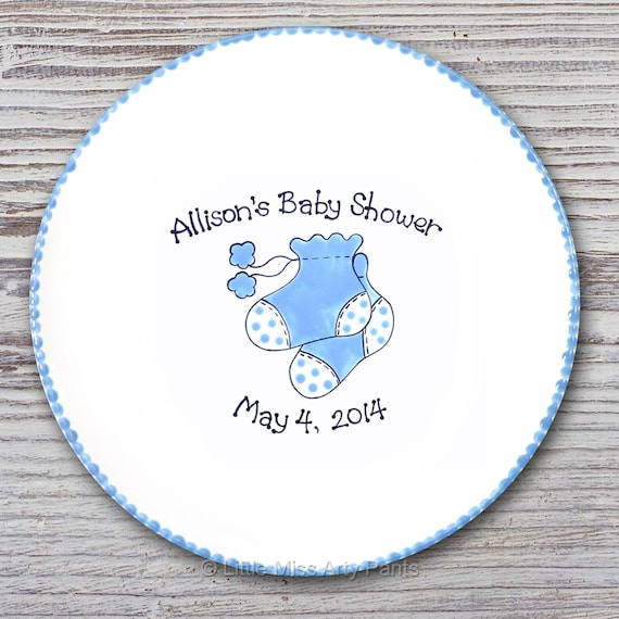 Personalized Baby Booties Signature Plate - Hand Painted Signature Plate - Personalized Plate - Signature Plate - Baby Shower Plate