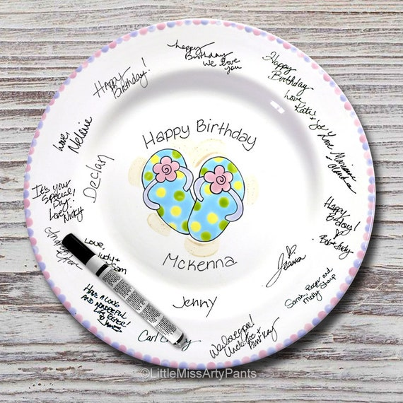 Hand Painted Signature Plate - Flip Flop Design - Beach - Guest Book Plate - Fun Birthday Plate - Birthday Gift
