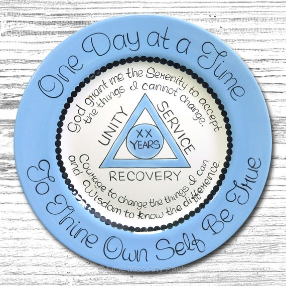 AA Alcoholics Anonymous Personalized Serenity Prayer Anniversary/Birthday/Recovery Plate - 11 inch plate - AA Birthday Gift