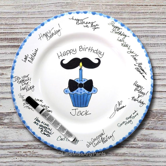 Hand Painted Signature Birthday Plate - Mustache - Bow Tie Cupcake - Happy Birthday Plate - 1st Birthday - Birthday Cupcake