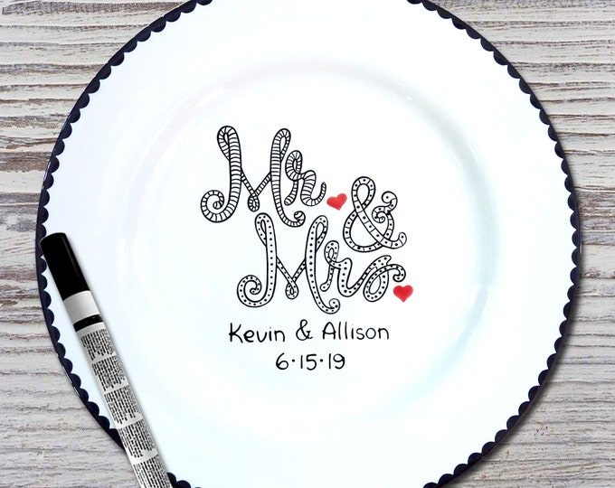 Personalized Wedding Signature Plate - Guest Book Plate - Wedding Gift- Personalized Wedding Plate - Signature Platter - Mr and Mrs Design