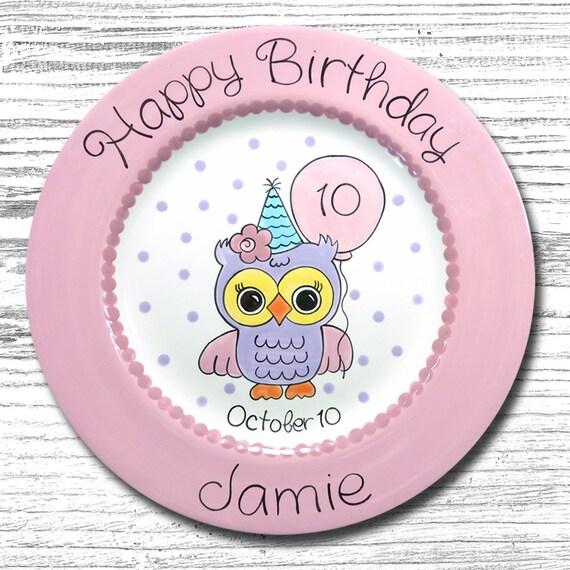Personalized Birthday Plates - Happy Birthday Plate - 1st Birthday Plate - Hand painted Ceramic Birthday Plate - Birthday Owl Plate Design