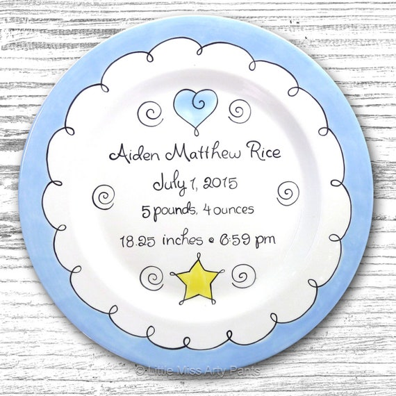 Personalized Birth Plates- Personalized Ceramic Baby Plate- Personalized Baby Plates - Baby Shower Plates - Sweet Baby Design Heart and Star