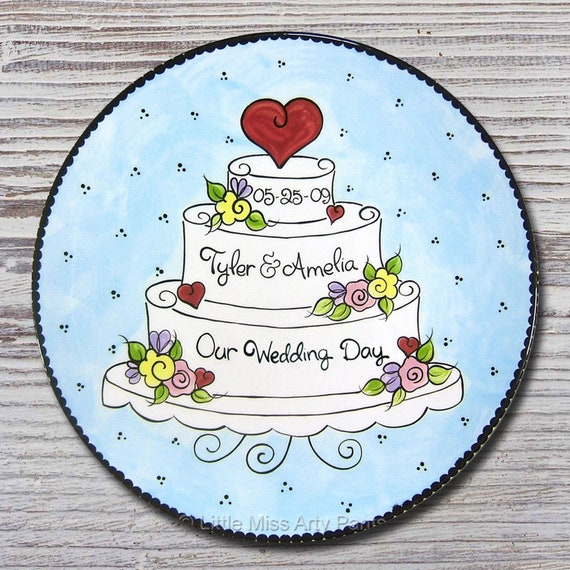 Personalized Wedding Plates - Anniversary Plate -Hand Painted Ceramic Wedding Plate -Personalized Wedding Plate- Heart & Flower Wedding Cake