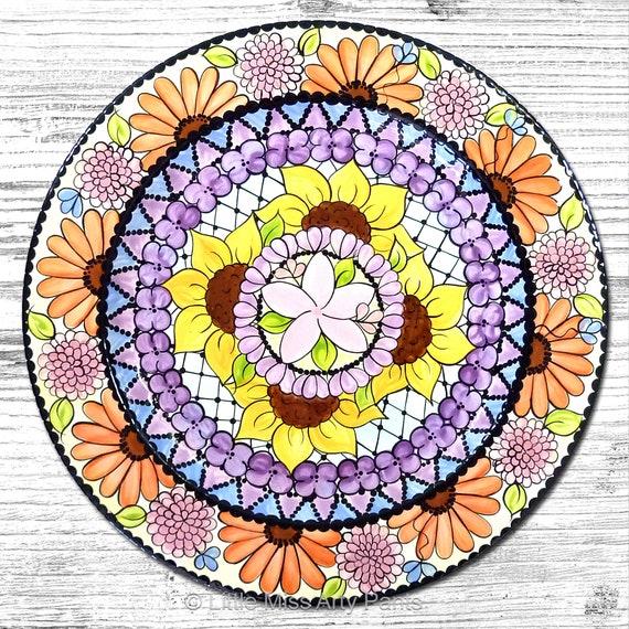 Hand painted Flower Mandala 13 inch Platter
