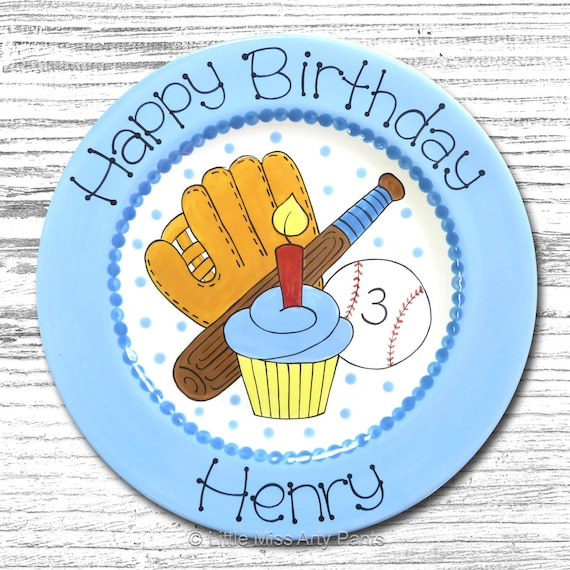Personalized Birthday Plates - Happy Birthday Plate - 1st Birthday Plate - Hand painted Ceramic Birthday Plate - Birthday Baseball Design