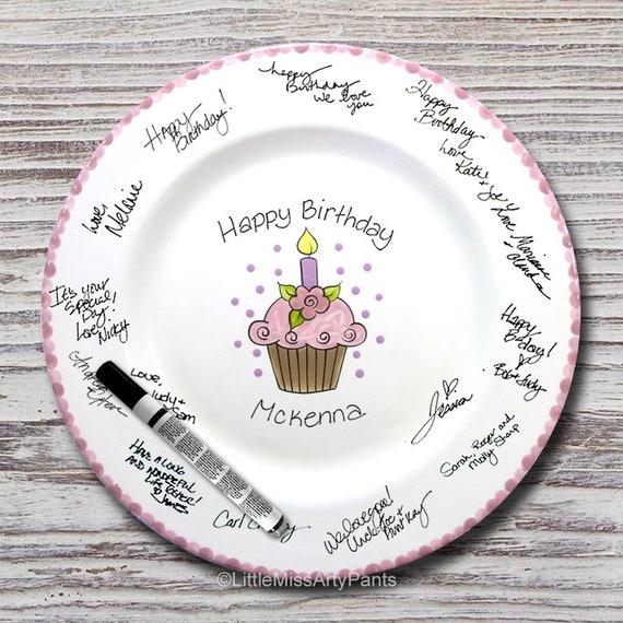 Hand Painted Signature Birthday Plate - Flower Cupcake - Happy Birthday Plate -1st Birthday -Birthday Cupcake -Birthday Gift