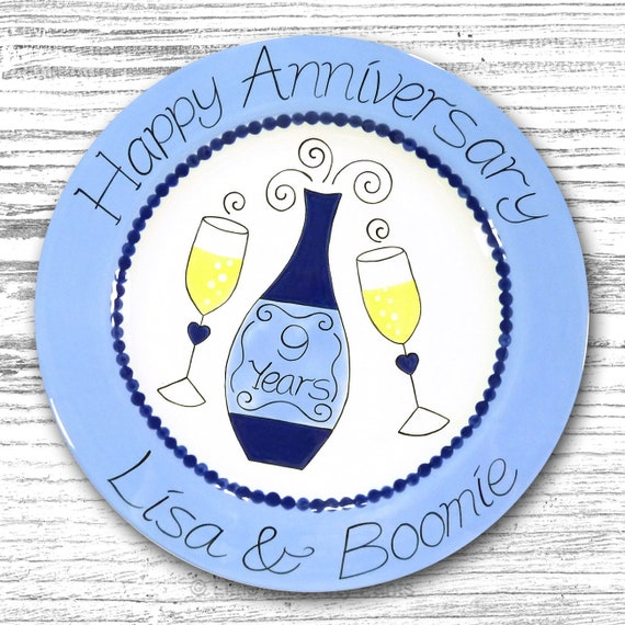 Personalized Anniversary Plates - Ceramic Anniversary Plates - Hand Painted Ceramic Wedding Plate - Hand Painted Plate - Cheers Design