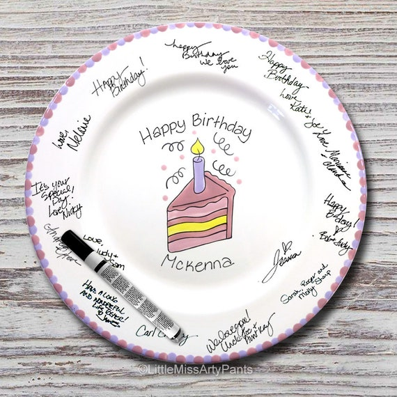 Hand Painted Signature Birthday Plate - Slice of Cake  - Happy Birthday Plate - 1st Birthday - Birthday Cake - Birthday Gift